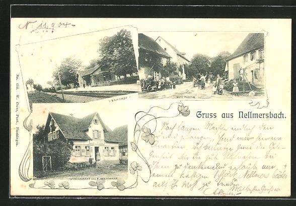 AK Nellmersbach, Blick auf Bahnhof, Gasthaus von F. Weishaar und Dorfpartie 0