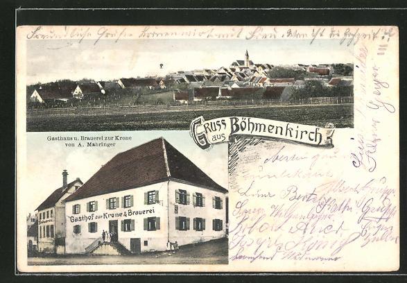 AK Böhmenkirch, Ortsansicht mit Kirche, Gasthaus und Brauerei zur Krone 0