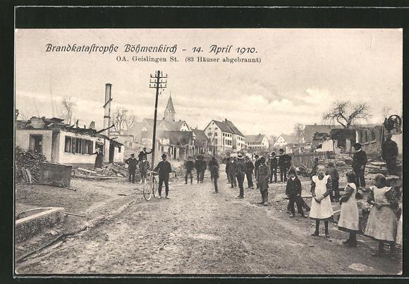 AK Böhmenkirch, Strassenpartie nach der Brandkatastrophe vom 14. April 1910 0