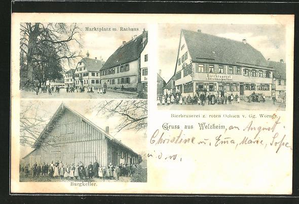 AK Welzheim, Brauerei zum roten Ochsen, Marktplatz mit Rathaus, Gasthaus zum Burgkeller 0