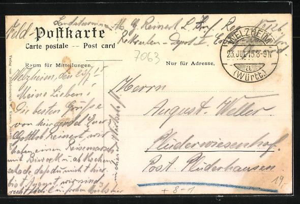 AK Welzheim, Brauerei zum roten Ochsen, Marktplatz mit Rathaus, Gasthaus zum Burgkeller 1