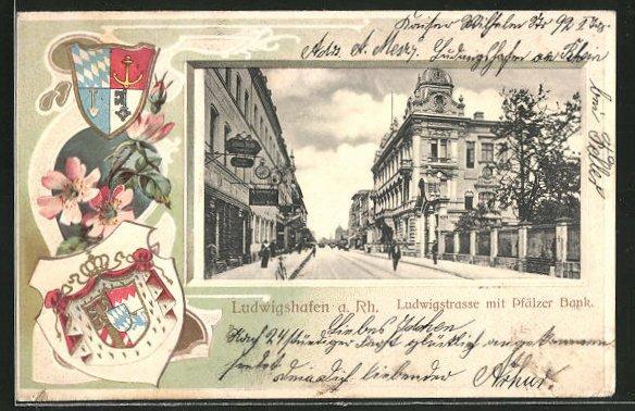 Passepartout-Lithographie Ludwigshafen, Ludwigstrasse mit Pfälzer Bank, Wappen 0