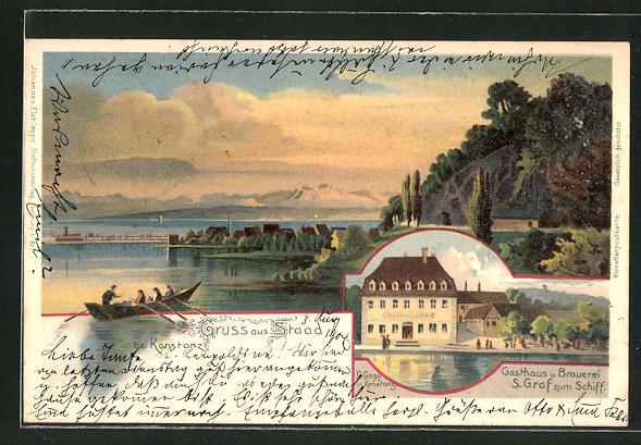 Lithographie Staad, Seepartie, Gasthaus und Brauerei S. Graf zum Schiff 0