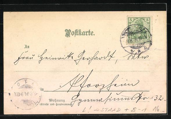 Lithographie Staad, Seepartie, Gasthaus und Brauerei S. Graf zum Schiff 1