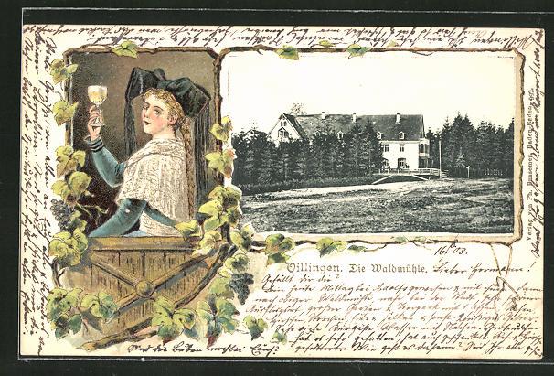 Passepartout-Lithographie Villingen, Gasthaus Waldmühle, Dame in Tracht mit einem Glas Wein 0