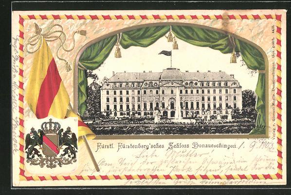 Passepartout-Lithographie Donaueschingen, Blick auf das Fürstenberg'sche Schloss, Wappen 0