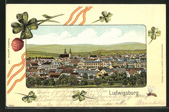 Passepartout-Lithographie Ludwigsburg, Ortsansicht aus der Vogelschau 0