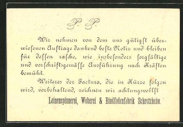 Vorläufer-AK Schretzheim, 1882, Leinenspinnerei, Weberei und Bindfadenfabrik Schretzheim 0