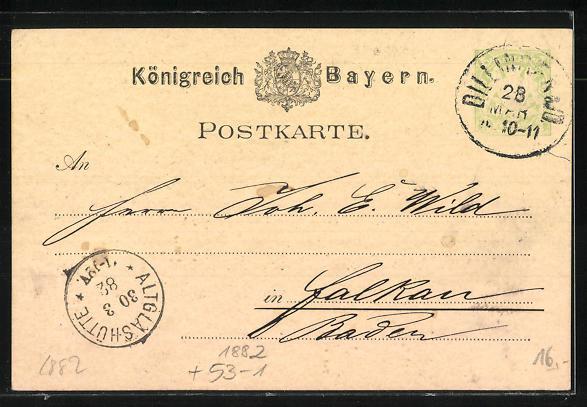 Vorläufer-AK Schretzheim, 1882, Leinenspinnerei, Weberei und Bindfadenfabrik Schretzheim 1