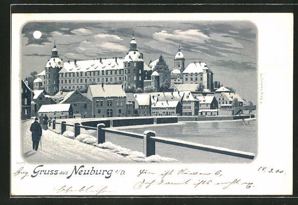 Winter-Lithographie Neuburg, Ortspartie im Mondschein 0