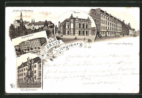 Vorläufer-Lithographie Augsburg, Blick auf Schloss Wöllenburg, Theater, Hotel Mohren und Fuggerhaus 1895 0