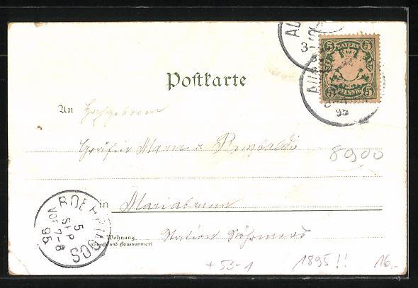 Vorläufer-Lithographie Augsburg, Blick auf Schloss Wöllenburg, Theater, Hotel Mohren und Fuggerhaus 1895 1