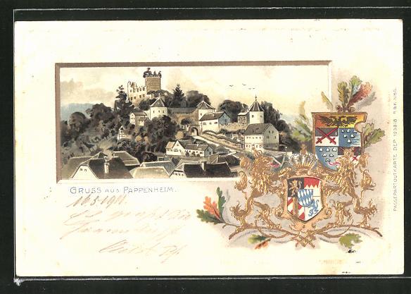 Passepartout-Lithographie Pappenheim, Ortsansicht aus der Vogelschau, Wappen