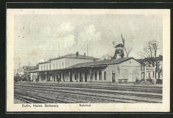 AK Eutin, Partie am Bahnhof, Windmühle 0
