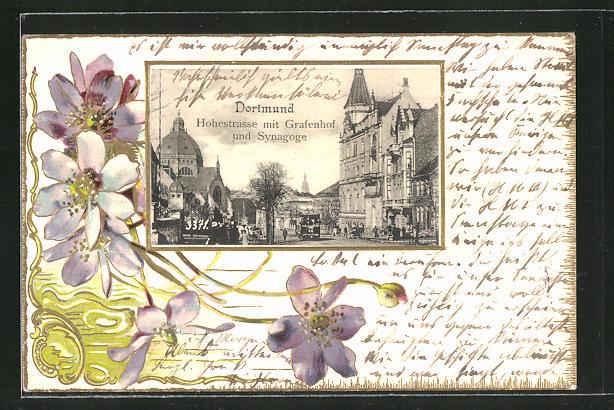 Passepartout-Lithographie Dortmund, Hohestrasse mit Grafenhof und Synagoge 0