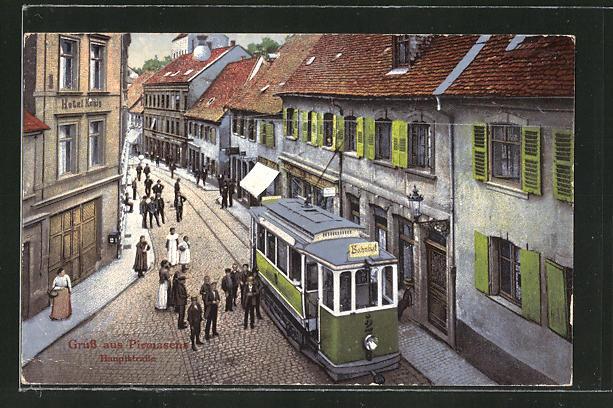 AK Pirmasens, Strassenbahn in der Hauptstrasse 0