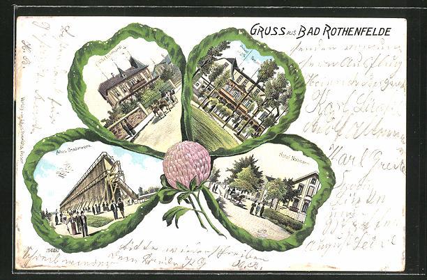 Passepartout-Lithographie Bad Rothenfelde, Gradirwerk, Villa Lichthardt, Hotel Nollmann im Kleeblatt 0