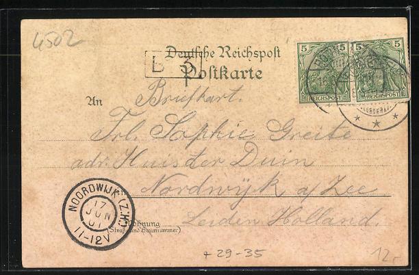 Passepartout-Lithographie Bad Rothenfelde, Gradirwerk, Villa Lichthardt, Hotel Nollmann im Kleeblatt 1