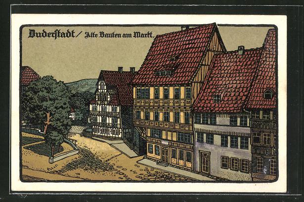 Steindruck-AK Duderstadt, Alte Bauten am Markt 0