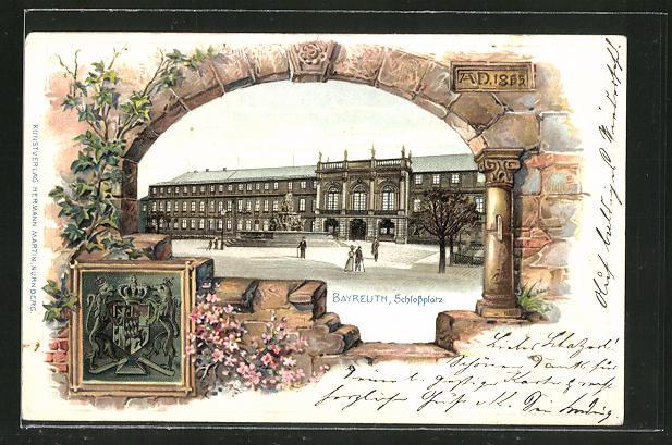 Passepartout-Lithographie Bayreuth, Schlossplatz, Wappen 0