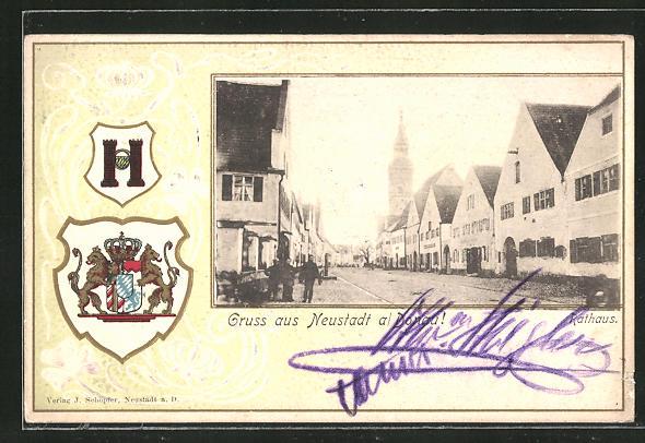 Passepartout-Lithographie Neustadt / Donau, Partie am Rathaus, Wappen 0