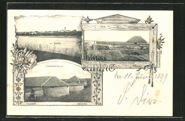 AK Eining, Donaupartie, Ausgrabungsstätte mit Volksbad und Batterieturm 0