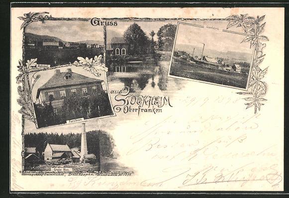 AK Stockheim, Grube Max, Glasfabrik, Forsthaus 0