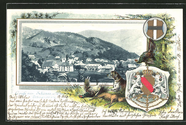 Passepartout-Lithographie Schönau im Wiesental, Panorama und Wappen 0