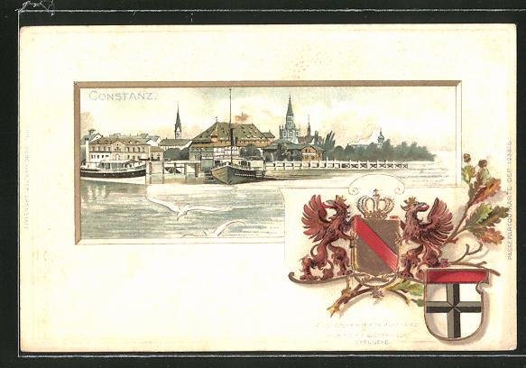 Passepartout-Lithographie Konstanz, Gesamtansicht und Wappen 0