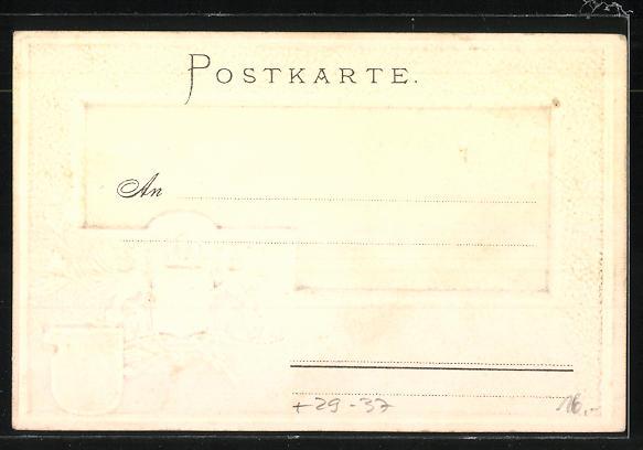 Passepartout-Lithographie Konstanz, Gesamtansicht und Wappen 1