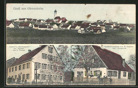 AK Ohmenheim, Gasthaus u. Bierbrauerei zur Kanne, Totalansicht 0
