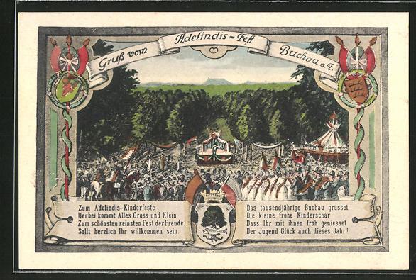 AK Buchau a.F., Adelindis-Fest, Blick auf die Festwiese 0