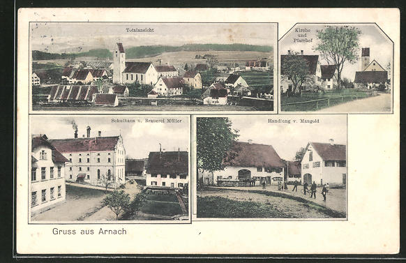 AK Arnach, Brauerei Müller, Schulhaus, Totalansicht 0