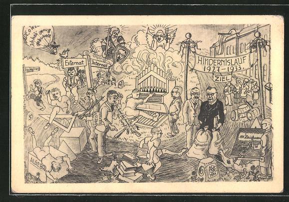 AK Heidelberg, Absolvia 1933, karikierte Turbulenzen eines Abiturienten 0