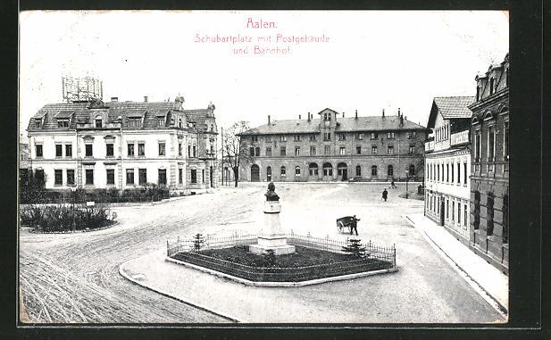 AK Aalen, Schubartplatz mit Postgebäude und Bahnhof 0
