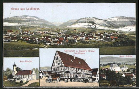 AK Lautlingen, Wirtschaft u. Brauerei Krone, Totalansicht, Neue Kirche 0