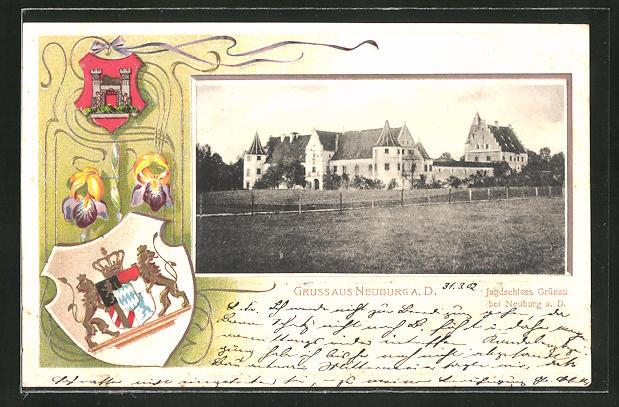 Passepartout-Lithographie Neuburg a.D., Jagdschloss Grünau, Wappen 0