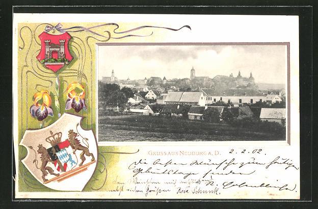 Passepartout-Lithographie Neuburg a.D., Jagdschloss Grünau, Wappen