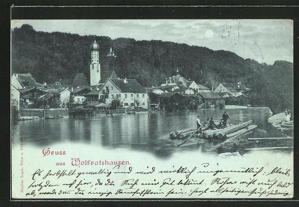 Mondschein-AK Wolfratshausen, Flösser passieren die Ortschaft 0