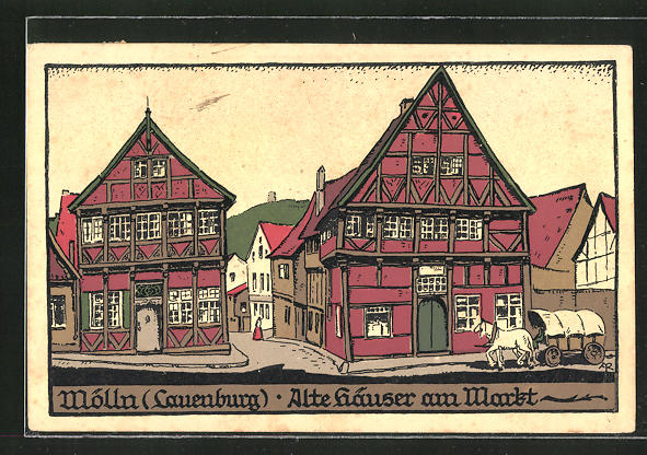 Steindruck-AK Mölln /Lauenburg, Alte Häuser am Markt 0
