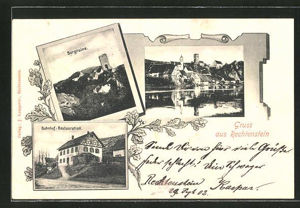AK Rechtenstein, Bahnhof, Burgruine, Ortsansicht 0