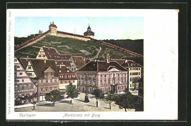 Goldfenster-AK Esslingen, Marktplatz mit Burg 0