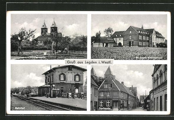 AK Legden i.W., Bahnhof, St. Josef-Krankenhaus, Dorfmotiv 0