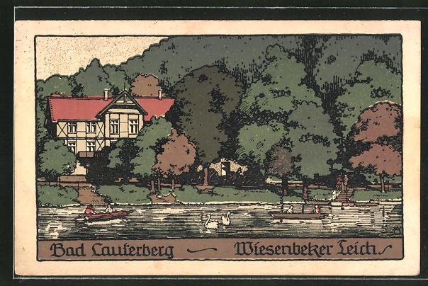 Steindruck-AK Bad Lauterberg, Wiesenbeker Teich 0