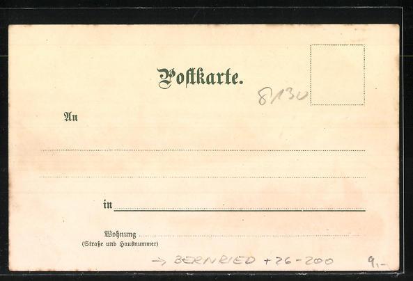 Künstler-AK Otto Strützel: Bernried /Starnbergersse, Ortsansicht mit Bismarckturm 1