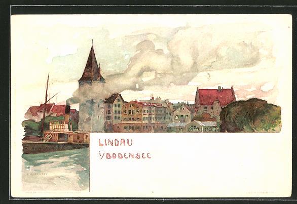 Künstler-AK Fritz Voellmy: Lindau /Bodensee, Dampfer im Hafen 0