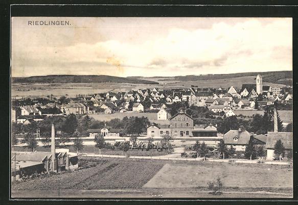 AK Riedlingen, Panorama mit Bahnhof 0