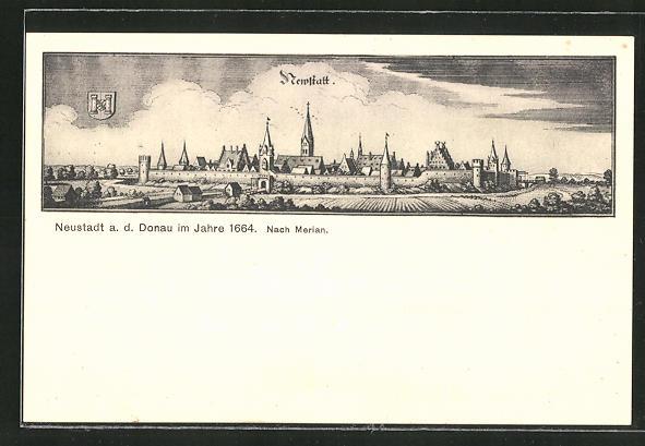 AK Neustadt a.D., Gesamtansicht im Jahre 1664 nach Merian 0