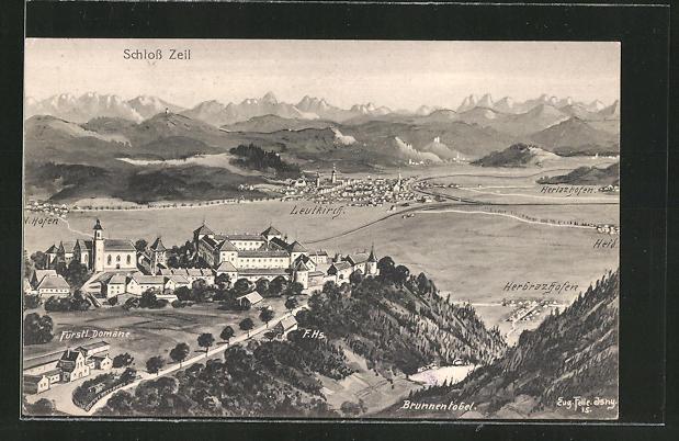 Künstler-AK Eugen Felle: Leutkirch, Panorama mit Schloss Zeil