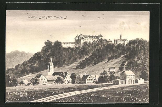 Künstler-AK Eugen Felle: Unterzeil, Blick zum Schloss Zeil 0